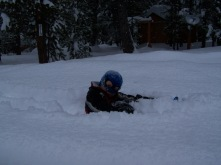 Spike attempting to make a snowshoe path in 6 foot drifts...